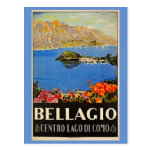 Vintage 1920s Bellagio Italian travel advert Postcards