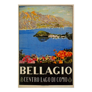 Vintage 1920s Bellagio Italian travel advert Poster