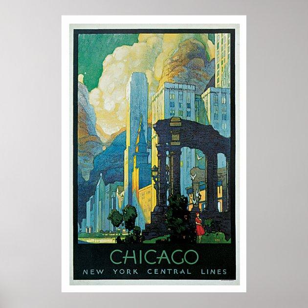 1929 Chicago Illinois Art Vintage United States Travel Advertisement Poster
