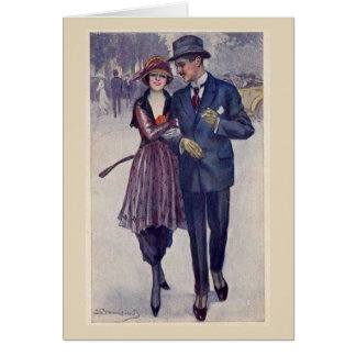Vintage 1920s Couple Out for a Stroll, Card