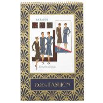 Vintage 1920s Fashion   Faux Gold Art Deco Calendar