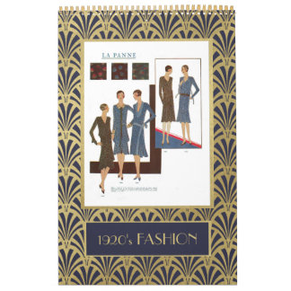 Vintage 1920s Fashion | Faux Gold Art Deco Calendar