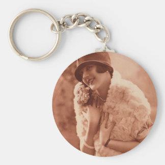 Vintage 1920s Flapper Girl Basic Round Button Keychain