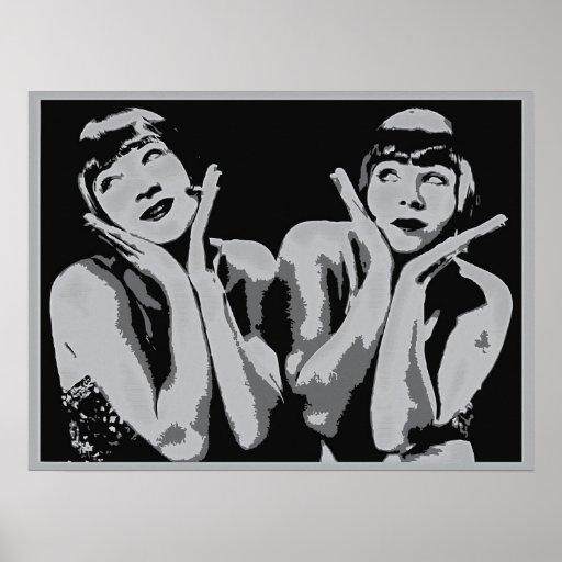 vintage 1920s flapper girls pop art, grayscale print