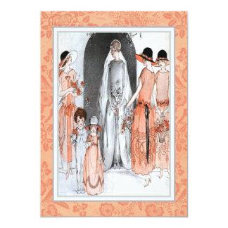 Vintage 1920s Illustration Bridal Party Shower 5x7 Paper Invitation Card