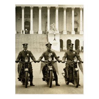 Vintage 1920s Motorcycle Cops Postcard