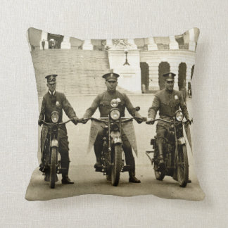 Vintage 1920s Motorcycle Cops Throw Pillow