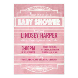 Vintage 1920's Movie Marquee Baby Shower Pink Invitation