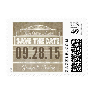 Vintage 1920's Movie Marquee Save the Date Postage
