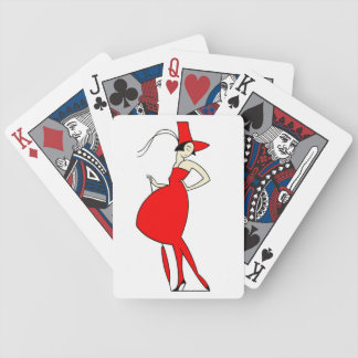 Vintage 1920s Red Dress Woman Parasol Illustration Bicycle Playing Cards