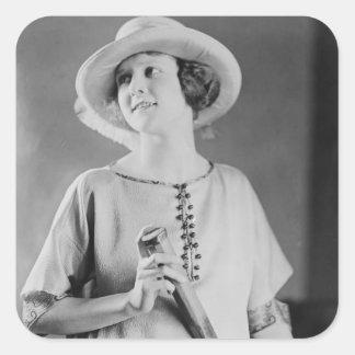 Vintage 1920s Tennis Fashion Square Sticker