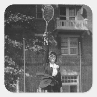 Vintage 1920s Tennis Fashion Square Stickers