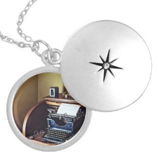 Vintage 1920s Typewriter In Home Office Silver Plated Necklace