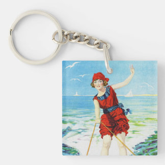 Vintage 1920s Wakeboarder Single-Sided Square Acrylic Keychain