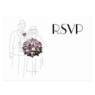 Vintage 1920s Wedding RSVP Postcard
