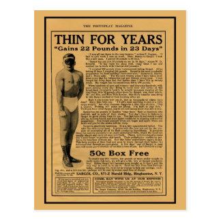 Vintage 1920s weight gain magazine ad postcard