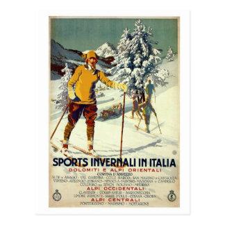 Vintage 1920s winter sports advert Italian travel Postcard