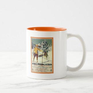 Vintage 1920s winter sports advert Italian travel Two-Tone Coffee Mug