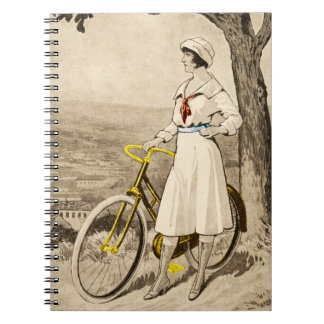 Vintage 1920s Woman Bicycle Advertisement Spiral Note Book