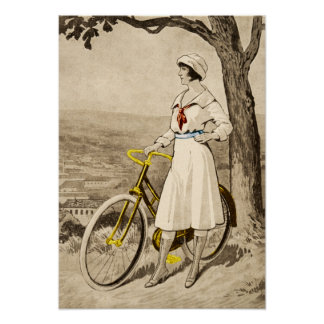 Vintage 1920s Woman Bicycle Advertisement Poster