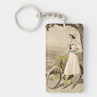 Vintage 1920s Woman Bicycle Advertisement Single-Sided Rectangular Acrylic Keychain