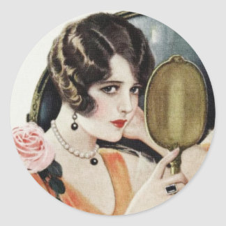 Vintage 1920s Woman Classic Round Sticker