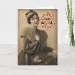 "Vintage 1920s Woman Who Is Retro, Not Old Birthday Card<br><div class=""desc"">Vintage 1920&#39;s photo of a beautiful young woman (who is my grandmother), striking a pose in her fur collared coat and wearing a hat and gloves. Perfect retro birthday card for any woman, no matter how old she is. &#39;Tis better to be retro, than old... at least that&#39;s what my...</div>"