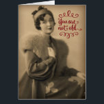 """Vintage 1920s Woman Who Is Retro, Not Old Birthday Card<br><div class=""""desc"""">Vintage 1920&#39;s photo of a beautiful young woman (who is my grandmother), striking a pose in her fur collared coat and wearing a hat and gloves. Perfect retro birthday card for any woman, no matter how old she is. &#39;Tis better to be retro, than old... at least that&#39;s what my...</div>"""