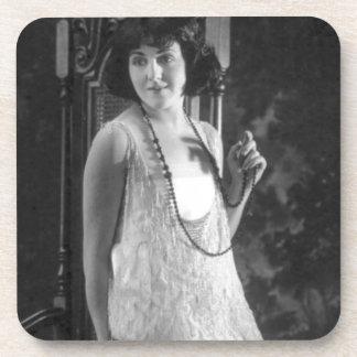 Vintage 1920s Women's Flapper Fashion Drink Coaster