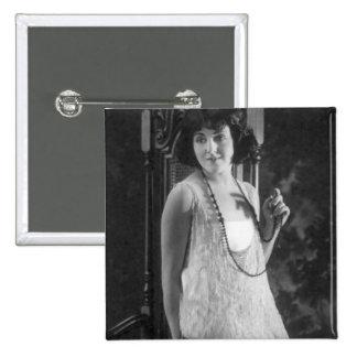 Vintage 1920s Women's Flapper Fashion Pinback Button