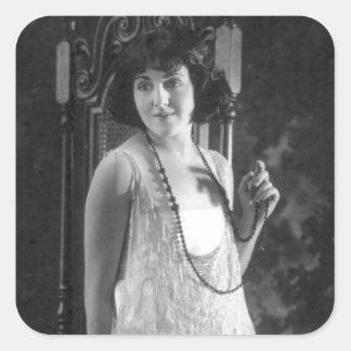 Vintage 1920s Women's Flapper Fashion Square Stickers