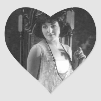 Vintage 1920s Women's Flapper Fashion Heart Sticker