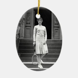 Vintage 1920s Women's Tennis Fashion Ceramic Ornament