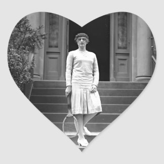 Vintage 1920s Women's Tennis Fashion Heart Sticker