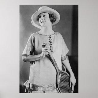 Vintage 1920s Women's Tennis Fashion Poster