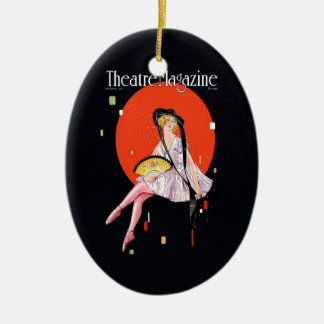 Vintage 1921 de la portada de revista del teatro adorno ovalado de cerámica