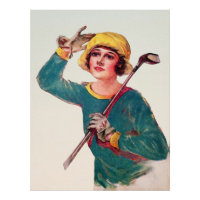 Vintage 1929 Woman Golfer - Art On Canvas Print