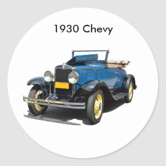 Vintage 1930 Chevy Convertible Automobile Classic Round Sticker
