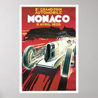 Vintage 1930 Monaco Grand Prix travel ad Poster