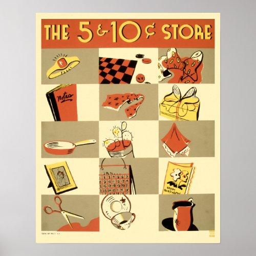 Vintage 1930's Five & Dime Store WPA