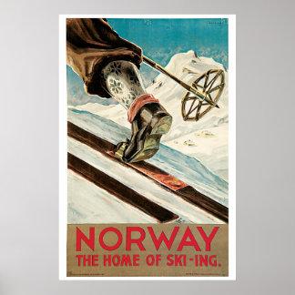 Vintage 1930s Norway ski travel ad Poster