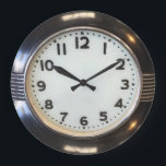 """Vintage 1930's Style Art Deco Print Wall Clock<br><div class=""""desc"""">Like Deco?  Here's a modern wall clock based on a vintage design. 2 sizes: 8"""" diameter (medium) or 10.75"""" diameter (large).Material: Grade-A acrylic.</div>"""