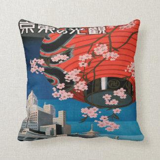 Vintage 1930s Tokyo Japan Travel Poster Souvenir Throw Pillow