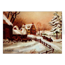 Vintage 1930s Winter Country Scene Card