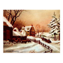 Vintage 1930s Winter Country Scene Postcard