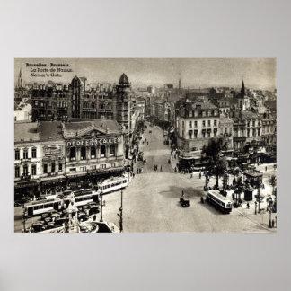 Vintage 1932 de Bruselas Bélgica de la puerta de Póster