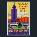 """Vintage 1933 Chicago Worlds Fair Poster<br><div class=""""desc"""">A colorful restored ad poster for the 1933 Chicago Worlds Fair.</div>"""