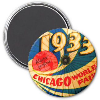 Vintage 1933 World's Fair Century Progress Ad Art 3 Inch Round Magnet