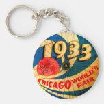 Vintage 1933 World's Fair Century Progress Ad Art Basic Round Button Keychain