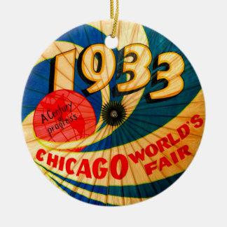 Vintage 1933 World's Fair Century Progress Ad Art Ceramic Ornament
